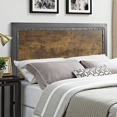 Wood Headboard, Panel Headboard, Headboards, Headboard Ideas, Bedroom Design On A Budget, Bedroom Ideas, Industrial Bedroom, Industrial Furniture, Minimalist Room
