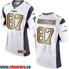df8fe6bd2 ... Mens New England Patriots 87 Rob Gronkowski White With Gold Stitched  NFL Nike Elite Jersey .
