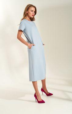5782b83fb64 Лаконичное платье-миди с коротким рукавом из смесовой вискозы TOPTOP STUDIO    2000001160619-4