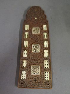 A Carved Chinese Hardwood And Bone Cribbage Board With Intricately Carved Foliate Design Set With Deeply Carved Bone Plaqu Cribbage Cribbage Board Bone Carving