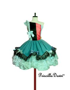 Reserved pink and Blue Lavish Lacey Dotted Lime Circus Mini Ball Gown Tea Cupcake Dress One of a Kind.