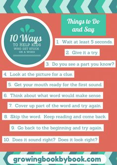 Use these prompts to help children learn to decode words. Great tips from growingbookbybook.com
