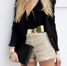 Fall / Winter - Spring / Summer - party style -golden sparkling cropped shorts + golden bow belt + golden bracelet + golden long necklace + black deep v-neck blouse + black blazer + black clutch