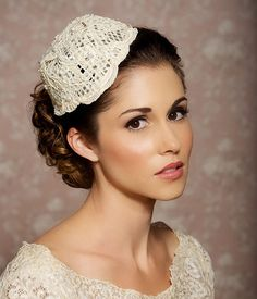 Cream Lace Bridal Hat Light Ivory Mini Hat Bridal by GildedShadows, $62.00