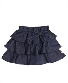 RuffleButts Girls Ruffled Denim Bow Skirt - Blue - Ruffles and denim, the must-have denim skirt with bow for your little princess. With three rows of ruffles, this girls ruffled denim skirt is as girly as it gets and will keep her twirling all day! Baby Girl Bottoms, Baby Girl Skirts, Baby Dress, Bow Skirt, Ruffle Skirt, Denim Skirt, Jean Skirt, Ruffles, Toddler Skirt