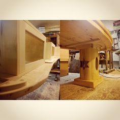 ecovastudesign / Hercik Residence / 2014 / .. finishing the bench made out of the maple wood, with brass screens and preparing the the oval table for transport