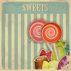 vintage postcard - sweet candy on striped background - vector illustration Stock Photo - 12101188