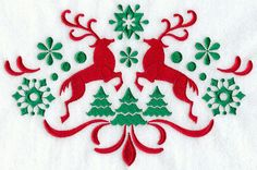 Nordic Christmas Reindeer Embroidered Linen by EmbroideredbySue
