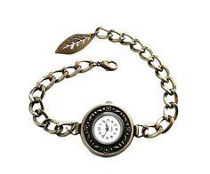 Handmade Women Fashion Vintage-style Antique Bronze Round Quartz Watch Bracelet