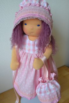 Jill - Handmade Waldorf Doll - Tibetan lambskin hair,  with bonnet and  two sets of clothes