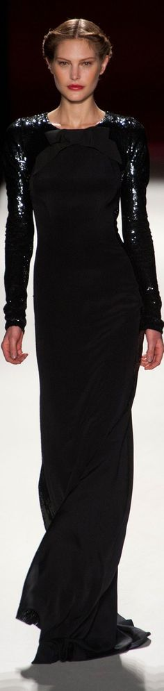 Carolina Herrera ~ Silver Embellished Black Long Sleeve Gown 2013