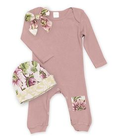 Look at this #zulilyfind! Tesa Babe Misty Rose & English Garden Bow Playsuit & Beanie by Tesa Babe #zulilyfinds