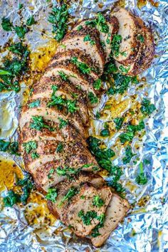 This is the Best Baked Garlic Pork Tenderloin recipe ever. so easy, delicious, and bursting with Italian garlic butter flavors the whole family loves! An easy pork tenderloin dinner in under an hour - great for meal prep and makes amazing leftovers for Garlic Pork Tenderloin Recipe, Chops Recipe, Pork Tenderloin Oven, Baked Pork Tenderloins, Healthy Pork Tenderloin Recipes, Roast Brisket, Smoked Brisket, Smoked Ribs, Baked Garlic