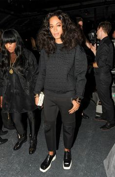 Solange Knowles in Alexander Wang x H&M crocodile-texture top and scuba-look pants.