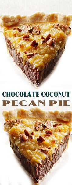 Chocolate Coconut Pecan Pie Recipe justin would lovethis! German Chocolate Pies, Chocolate Desserts, Chocolate Pie Recipes, Just Desserts, Delicious Desserts, Yummy Food, Pecan Recipes, Sweet Recipes, Easy Recipes