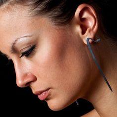 Golnar Gorgin - E silver earrings Black and White - inspired by Persian calligraphy