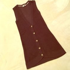 Esprit brown knit vest Brown knit extra long button front best. Brand: esprit. Size medium. Bought this second hand and only wore a few times. Looks like it used to have a belt but it's missing. In good condition. ESPRIT Tops Tank Tops