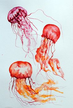 Jelly fish watercolor 1 by Lunicqa.deviantart.com on @DeviantArt