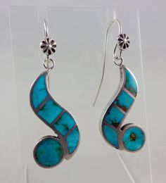 Zuni Indian silver earrings inlaid with Blue Gem turquoise by noted artist Ellen Quandelacy, b.1924-d.2002.