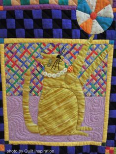 "Cats Rule, 65 x 80"", made by Kathy Mack, quilted by Shannon Freeman.  Design by John Simpkins. 2014 RCQG, photo by Quilt Inspiration"