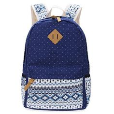 Dot Canvas Backpack for Girl