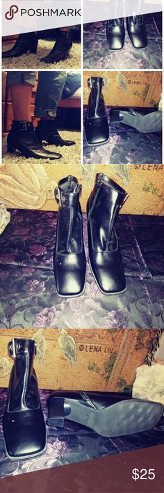 ?? Expressions Blk Ankle Boot Square Toe.  Comfotable Size 7 Man made Brand: Expressions footwear for Women  ?NO TRADES ?NO LOWBALLING ?SERIOUS BUYERS ONLY PLEASE. Shoes Ankle Boots & Booties