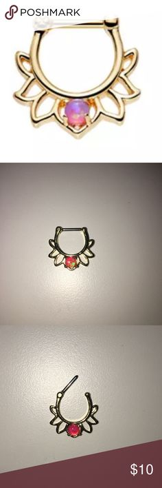 💫16g Opal Septum Clicker 💫 Beautiful 16g gold septum clicker with an alluring pink opal in the center of this floral looking clicker. Great bundle item! Brand new, never worn. Purchased from a jewelry kiosk. Surgical steel. Gold plated. Shipped in a small baggy and comes with an alcohol wipe. Originally 30$!  Brand: Body Arts Metal: Sergical Steel Size: 16g  Bundle 3 items to save 30%! 🎉 Let me know if you have any questions! 😊 Nasty Gal Jewelry