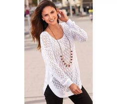 Ažurový pulovr se zakulaceným spodním lemem | vyprodej-slevy.cz #vyprodejslevy #vyprodejslecycz #vyprodejslevy_cz #sweater #svetr #pulover #pulovr Blouse, Long Sleeve, Sleeves, Women, Fashion, Blouse Band, Moda, Full Sleeves, Women's