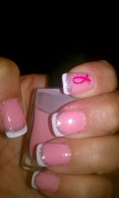 Breast cancer awareness nail bling!