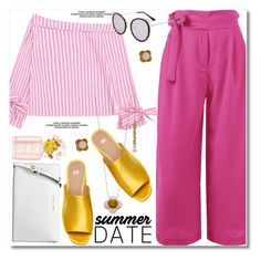"""Summer Date Night"" by paculi ❤ liked on Polyvore featuring Michael Kors, Marc Jacobs, Orla Kiely, StreetStyle, casual, yellow, Pink and summerdatenight"