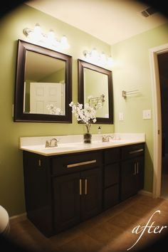 Kristen F. Davis Designs: faux painted cabinets.  Nice color....a little unusual....apple green :)