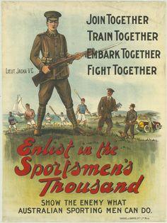 Albert Jacka recruitment poster Sportsmen 1,000