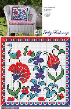 Designed and stitched by Filiz Türkocağı...( İznik Chini )