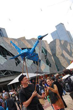 Origami crane puppet