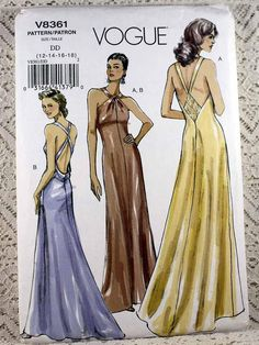 Vogue 8361 Misses Formal Evening Gown Sewing Pattern Misses Size Evening Gown Sewing Pattern Floor Length Evening Dress Pattern Formal Dress Patterns, Vogue Dress Patterns, Wedding Dress Patterns, Vogue Sewing Patterns, Pattern Sewing, Pattern Dress, Vintage Evening Gowns, Long Evening Gowns, Vintage Dress
