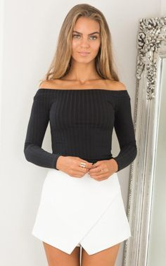 2a40f39ad42e9 Sexy Ribbed-Knit Off-Shoulder Long Sleeve Slim Crop Top