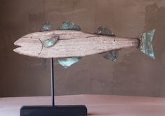 Woodworking Projects Wood Artist UnKnown Wooden Fish Weathervane Wood and Copper X Base X SOLD.Woodworking Projects Wood Artist UnKnown Wooden Fish Weathervane Wood and Copper X Base X SOLD Driftwood Fish, Driftwood Crafts, Wooden Fish, Wooden Art, Fish Crafts, Beach Crafts, Fish Wall Decor, Lake Decor, Wood Painting Art