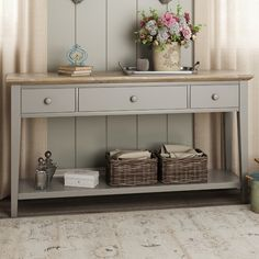 Taylor Console Table Brambly Cottage Colour: Truffle - Truffle - Size: H X W X D Living Tv, Chic Living Room, Unique Furniture, Painted Furniture, Lounge Furniture, Furniture Ideas, Furniture Design, Grey Wall Color, Wooden Console Table