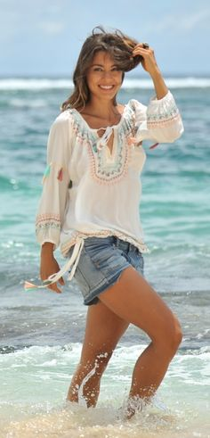 Hot Lava blouse Gabrielle ivoor / pastel (maat M uitverkocht!)