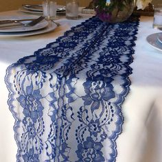 NAVY BLUE Lace/Table Runner/Weddings/ yards, inches long, Navy Weddings for the wedding party Centerpiece Table, Wedding Centerpieces, Wedding Table, Fall Wedding, Dream Wedding, Wedding Decorations, Wedding Ideas, Centrepieces, Decor Wedding