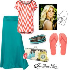 A fashion look from March 2013 featuring print top, fold over knit maxi skirt and studded shoes. Browse and shop related looks.