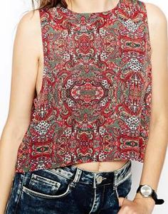 Enlarge ASOS Vest in Drop Armhole and Keyhole Back in Paisley Print 70s Fashion, Fashion Online, Paisley Print, Sequin Skirt, Tank Man, Asos, Vest, Photoshoot, My Style