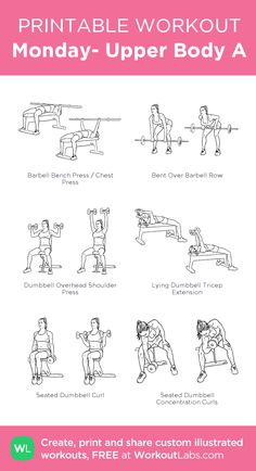 Six Pack Abs Workout Routine Upper Body Workout Gym, Upper Body Workout For Women, Barbell Workout For Women, Monday Workout, 30 Day Workout Challenge, Arm Day Workout, Workout Schedule, Lifting Workouts, Gym Workouts