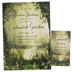 Invitation/Ticket Set - Enchanted Garden Prom Themed Invitation Senior Prom, Homecoming, Ticket Invitation, Invitations, Prom Invites, Prom Themes, Garden Sculptures, School Events, Enchanted Garden