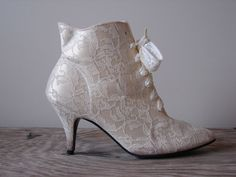 1980s Heels Vintage 80s Victorian Gothic Granny Ivory White Wedding Lace Up Boots Shoes Size 8 And Promises