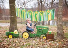John Deere Cake Smash Session | Green & Yellow theme  © Full Feather…