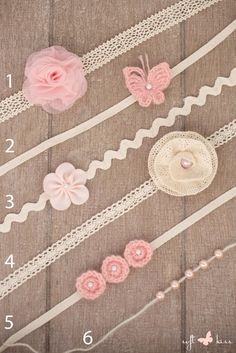 SET 3 Handmade Pink / Rose Newborn Tiebacks of Your Choice (Circles, Flowers, Butterfly, Pearls, Cotton Lace Ribbons) Photography Props by SoftButterflyKiss on Etsy