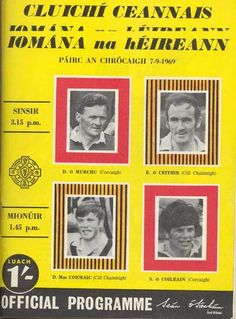 1969 All-Ireland Senior Hurling Final programme, Cork v Kilkenny Programming, Cork, Ireland, Reading, Reading Books, Irish, Corks, Computer Programming, Coding