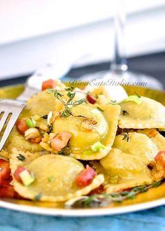 sweet pea ravioli w/ spring onions & pancetta