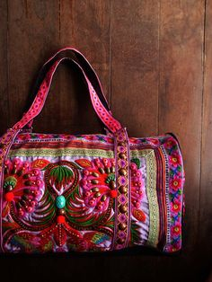 Hippie Overnight Bag with flower motif by realmlistic on Etsy, $110.00